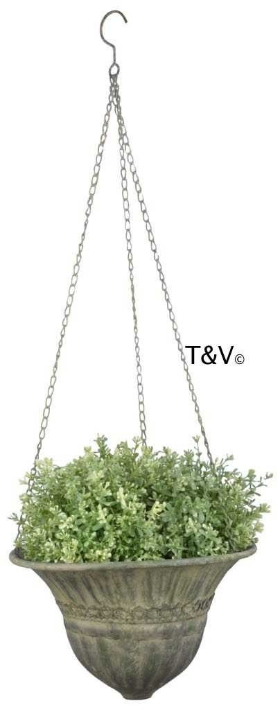 Esschert Design Aged Metal Green hanging basket S (AM72 - 8714982115721) | Trends & Vision