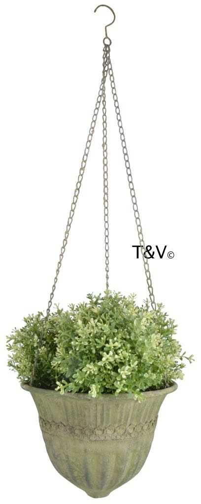 Esschert Design Aged Metal Green hanging basket L (AM73 - 8714982115738) | Trends & Vision